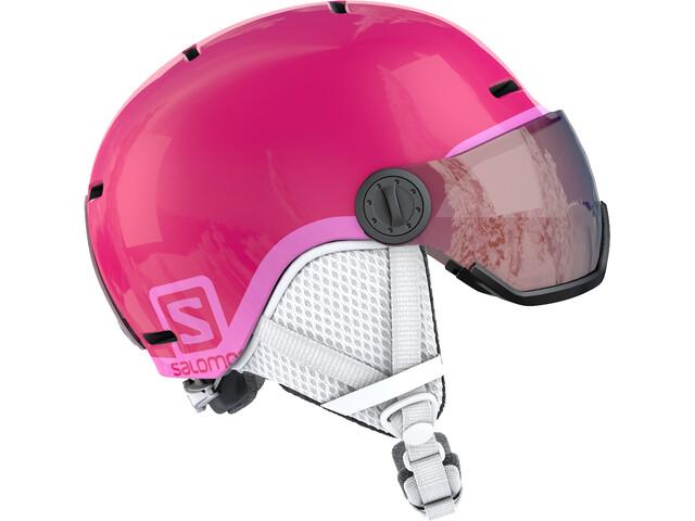 Salomon Grom Visor Kypärä Lapset, glossy/pink
